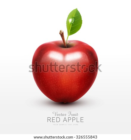 vector red apple with green leaf isolated on a white background - stock vector
