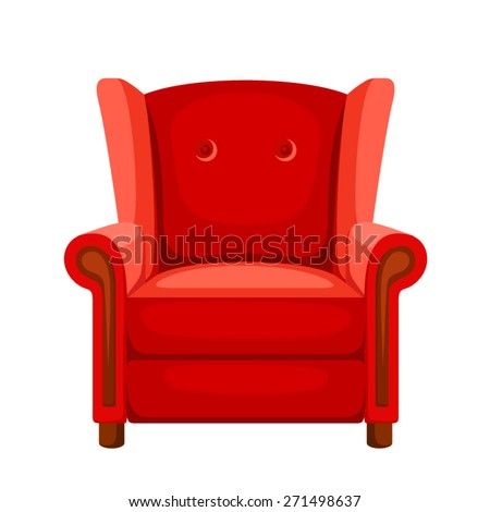 Vector red armchair isolated on a white background. - stock vector