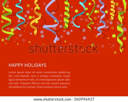 Vector Red background with colorful streamers and space for text. Carnival party serpentine decoration, paper ribbons for holidays design - stock vector