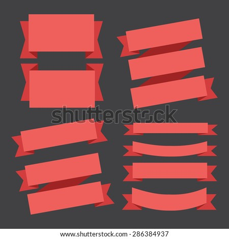 vector red banners ribbons set on a black background. - stock vector