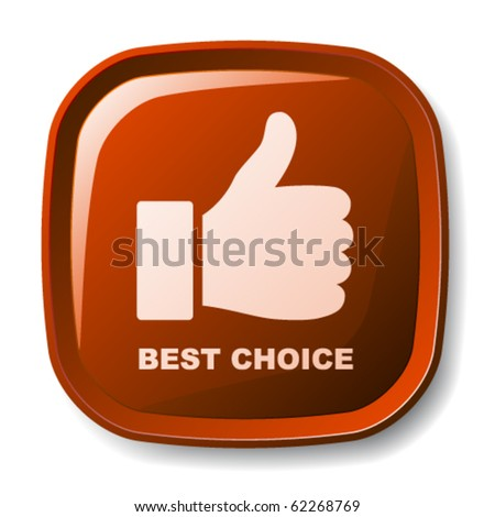 vector red best choice button - stock vector