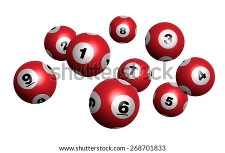 Vector Red Bingo / Lottery Number Balls - stock vector