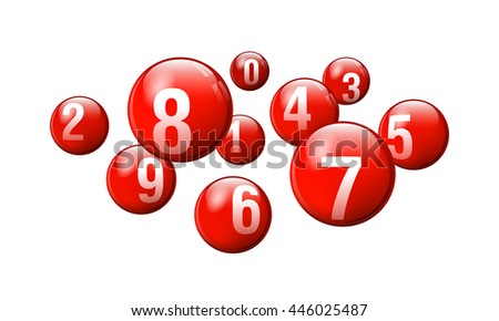 Vector Red Bingo / Lottery Number Balls on White Background - stock vector