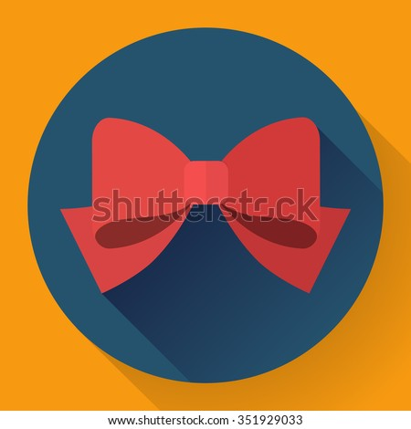 Vector red bow icon. Flat designed style. - stock vector