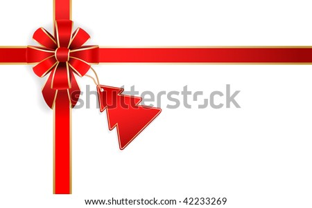 vector red bow with christmas tree tag - stock vector