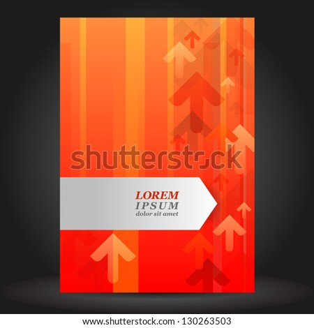 Vector red brochure cover design with arrows. EPS 10 - stock vector