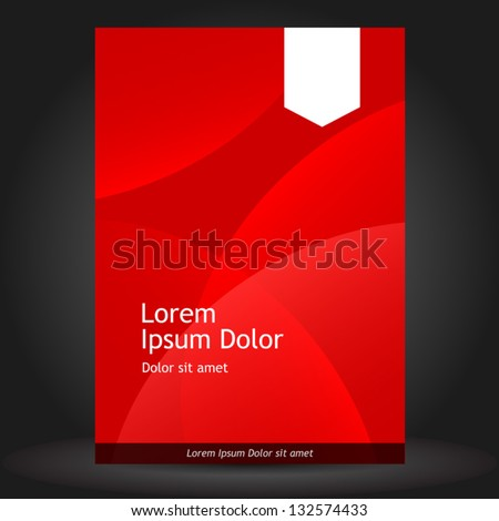 Vector red brochure template design with white stripes. EPS 10 - stock vector
