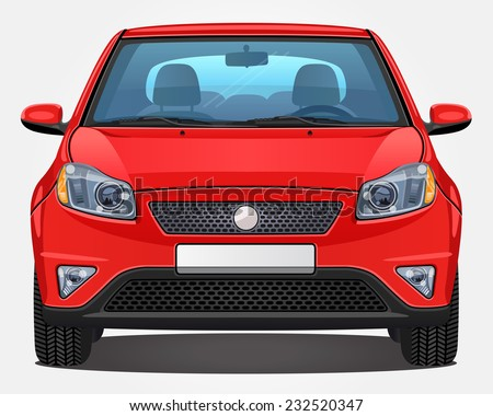 Vector red Car - Front view | Visible interior version - stock vector