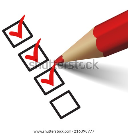 Vector red check mark symbol and icon on checklist with pencil for approved design concept and web graphic, EPS 10 illustration on white background. - stock vector