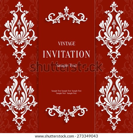 Vector Red Christmas Vintage Invitation Card with 3d Floral Pattern - stock vector