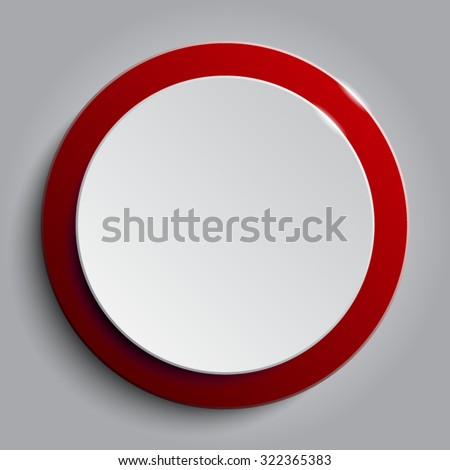 Vector.Red circle button on white background. - stock vector