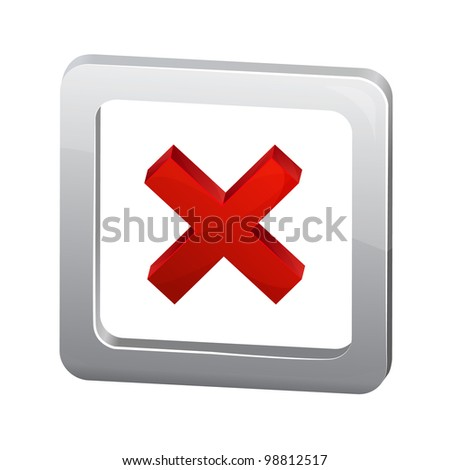 Vector red cross in metalic box isolated on white background - stock vector