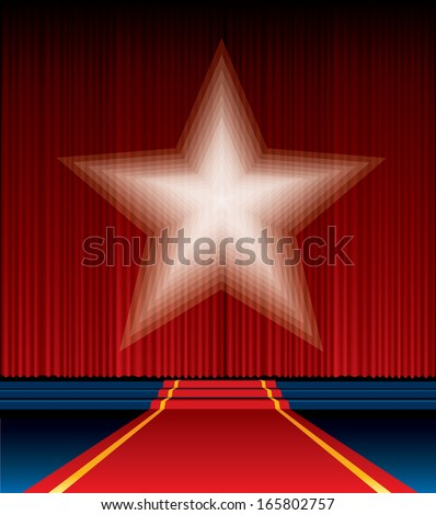 vector red curtain with blurry spotlight star - stock vector
