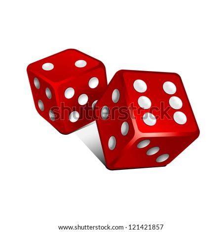 Vector red dice . - stock vector