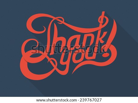 "vector red flat text ""Thank you"" - stock vector"