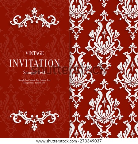 Vector Red Floral 3d Christmas and Invitation Background Template - stock vector