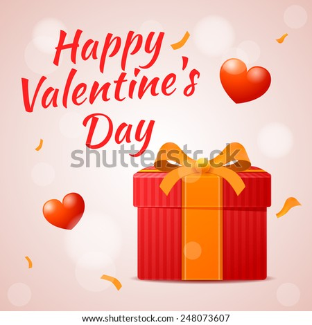 Vector red gift on Valentine's day, Happy Valentine's Day inscription - stock vector