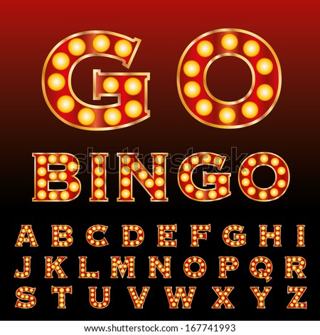 vector red golden entertainment and casino letters with bulb lamps  - stock vector