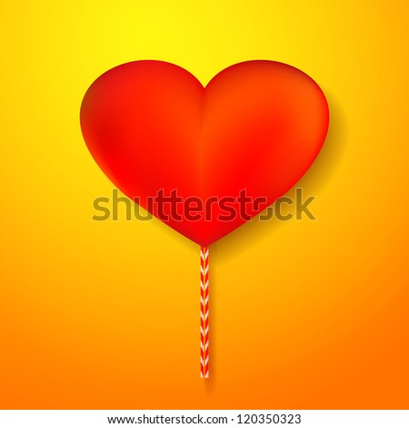 Vector red heart candy on yellow background - stock vector