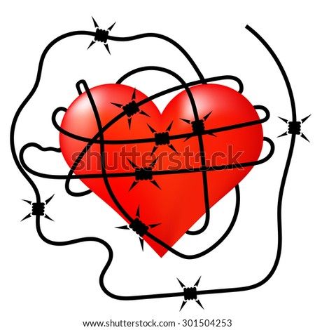 Vector Red Heart Icon Wrapped in Barbed Wire - stock vector