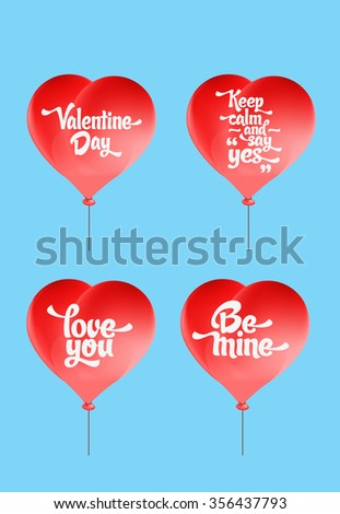 Vector red heart-shaped balloons set. Love elements with text 'love you, be mine, valentine day, keep calm and say yes' for a Valentine day card. - stock vector