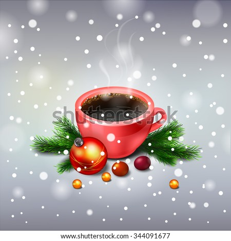 vector red Hot Coffee cup on a frosty winter cup of coffee - stock vector