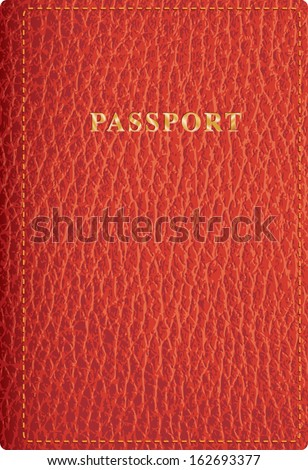 vector red leather passport cover - stock vector