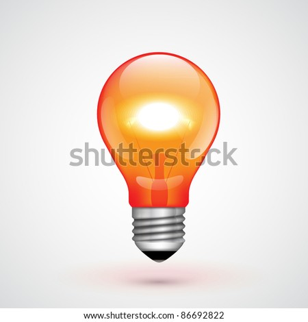Vector Red Light Bulb - stock vector