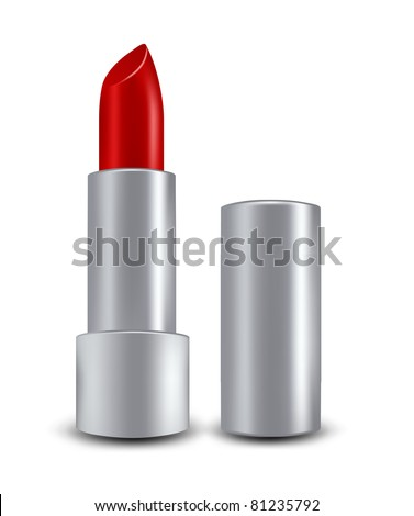 vector red lipstick - stock vector