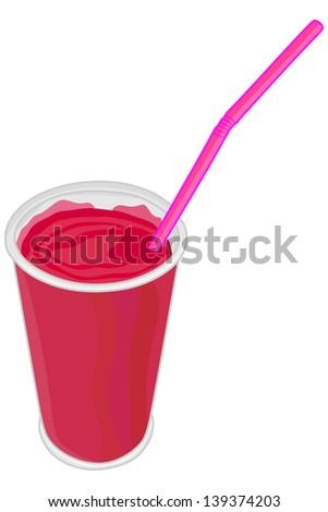 Vector red milk shake - stock vector