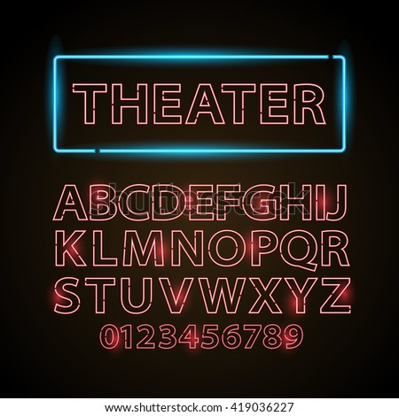 Vector red neon lamp letters font show cinema or theather - stock vector