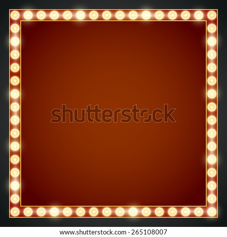 Vector red neon lights lamp vector frame template - stock vector