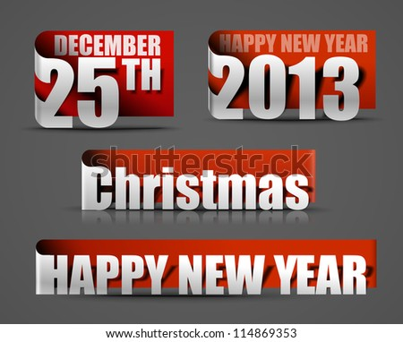 Vector red new year 2013 & 25 december sticker design. - stock vector
