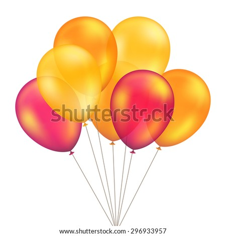 Vector Red Orange Yellow Balloons Set Isolated on White Background - stock vector