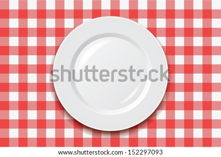 vector red picnic cooking tablecloth and empty plate  - stock vector