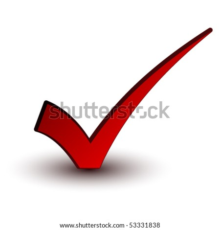 vector red positive checkmark - stock vector