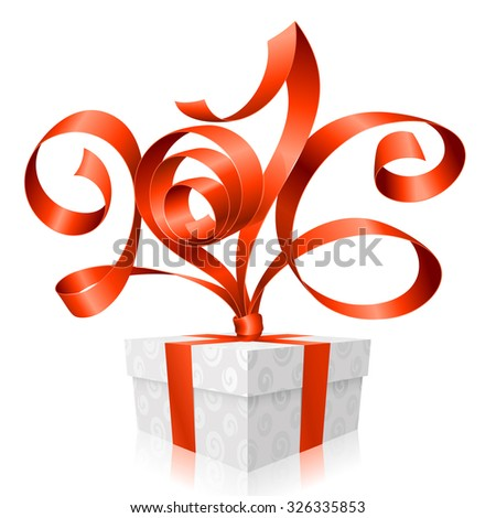 Vector red ribbon and gift box.Symbol of New Year 2016 - stock vector