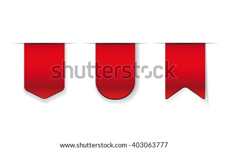 Vector Red Ribbon set - stock vector
