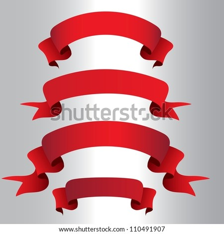 Vector red ribbons set isolated, element for design - stock vector