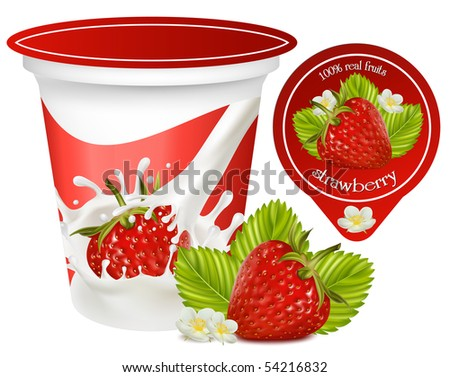 Vector. Red ripe  strawberry with leaves and flowers.Background for design of packing yoghurt. - stock vector