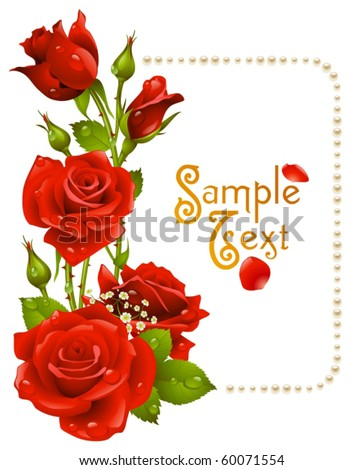 Vector red rose and pearls frame - stock vector
