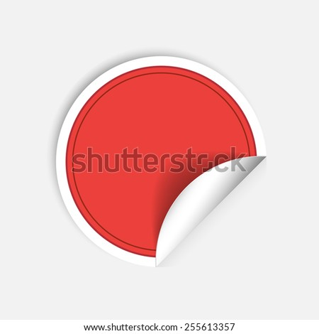 Vector red round stickers with curled edge isolated on white background - stock vector