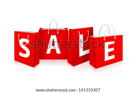 Vector Red Shopping Bags with sale label - stock vector