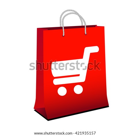 Vector red shopping paper bag with simple white symbol of shopping cart - trolley. Item, button on web page.  - stock vector