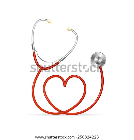 Vector Red Stethoscope in Shape of Heart - stock vector