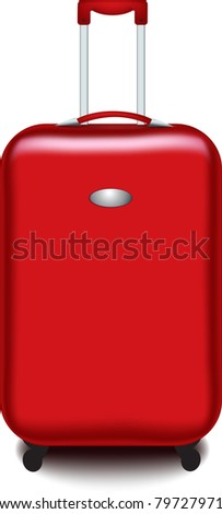 Vector red suitcase isolated over a white background - stock vector