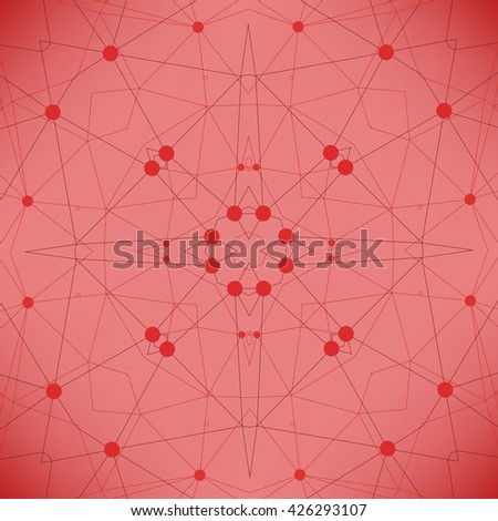 Vector Red Technology Background with Particle, Molecule Structure. Genetic and Chemical Compounds. Communication Concept. Space and Constellations. - stock vector