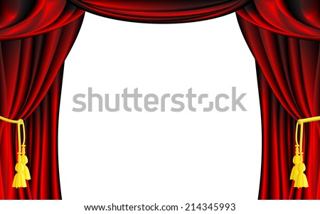 Vector Red Theater Curtain with White Background - stock vector