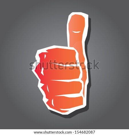 """vector red thumb up icon. symbol of good job .""""i like it"""" sign. - stock vector"""