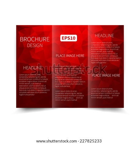 Vector red tri-fold brochure design template with abstract geometric background with triangles EPS10 Tri-Fold Mock up & back Brochure Design  - stock vector